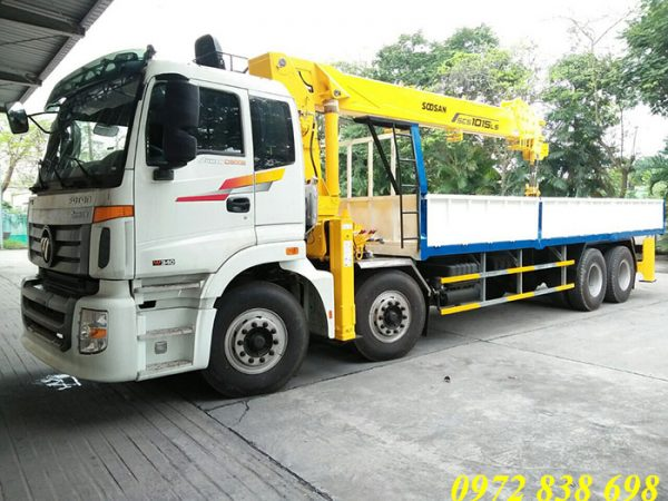 Xe tải Auman 4 chân gắn cẩu Soosan 12 tấn
