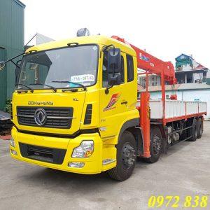 xe tải Dongfeng 4 chân gắn cẩu Kanglim 15 tấn