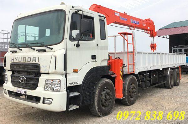xe tải hyundai hd320 gắn cẩu kanglim 10 tấn