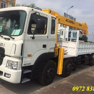 xe tải hyundai hd320 gắn cẩu soosan 12 tấn