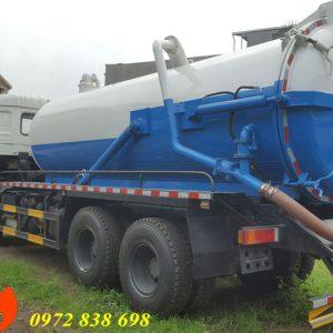 xe bồn hút chất thải bể phốt hầm cầu dongfeng 12 khối