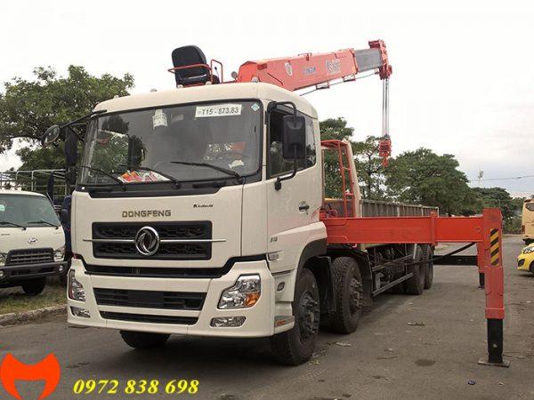 xe tải dongfeng 4 chân gắn cẩu kanglim 10 tấn