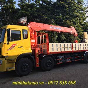 xe dongfeng 4 chân gắn cẩu kanglim 12 tấn